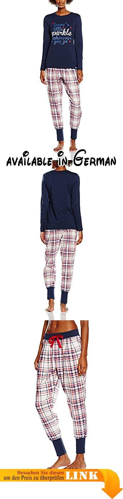 Skiny Damen Zweiteiliger Schlafanzug 082387, Gr. 40, Blau (navy 0390). Pyjama bestehend aus einer langen, locker geschnittenen Hose und einem Langarmshirt mit Rundhals.. Trendiges Karomuster passend dazu der süße Frontprint beim Shirt. Hose mit seitlichen Taschen und Bündchen an Bein und Bund, sowie einem Durchzugsband. #Apparel #SLEEPWEAR