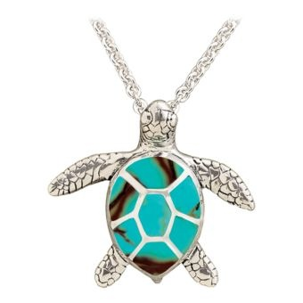 Kabana® Jewelry Sterling Silver 18'' Necklace with Channel Inlay Turtle Pendant - Turquoise | Bass Pro Shops