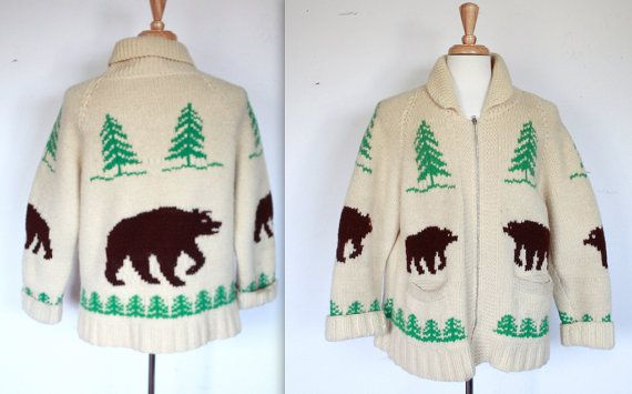 Mary Maxim Men's No. 417 Grizzly Bear sweater jacket by TrueValueVintage