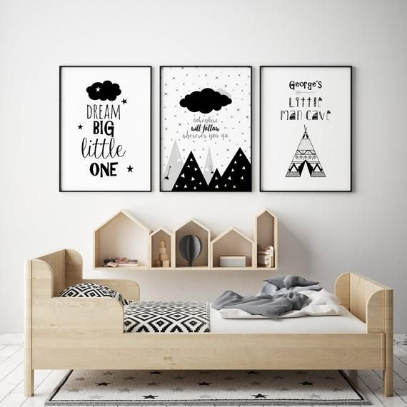 Little Man Cave Monochrome Nursery Print Boys Nursery Decor Monochrome Nursery Decor Black And White Nursery Decor Dream Big Little One White Nursery Decor Monochrome Nursery Decor Nursery Decor Black