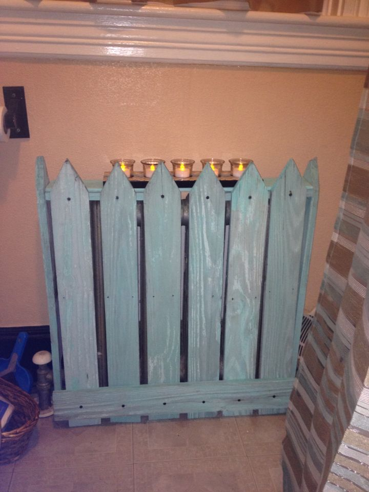Recycled my old fence into a radiator heater cover! Love it!