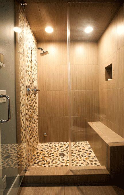 Shower Tile Mix : Waterlily interiors master bath update straie vertical