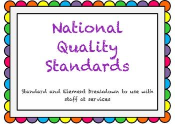National Quality Framework...printouts for staff to help with QIP....