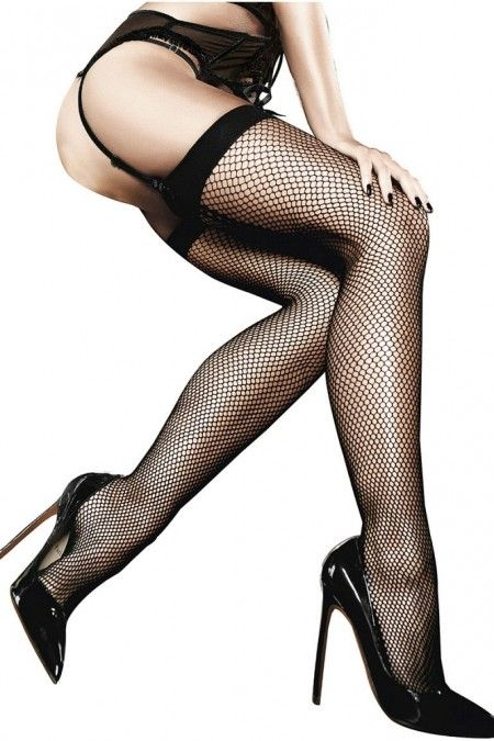 Classic Black Fishnet Thigh Highs with Backseam in OS