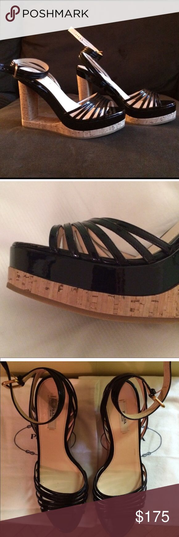"""Prada Black Patent Cork Wedge Sandals Black cork wedges are 5"""" inches high with a 2"""" inch high platform. Very comfortable and easy to walk in. Worn only a few times. No damage to shoes, heels or cork. Comes with a dust bag. Prada Shoes Wedges"""