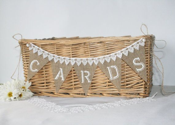 Burlap Wedding Cards Banner lace cards banner от SDinspiration