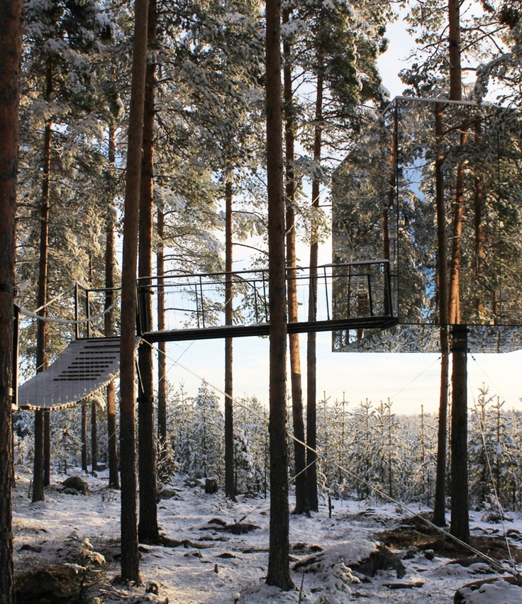 mirror cube treehouse harads sweden