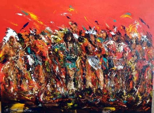 """Dancing in the Wind"" Acrylic by Joanne Bird, Sioux Artist 30x40 www.spiritsinthewindgallery.com"