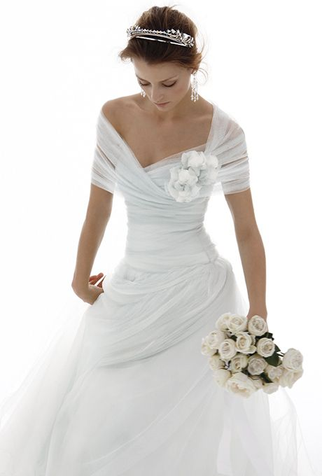 Pure silk tulle, v-neckline, off the shoulders dress, with full gathered romantic skirt.