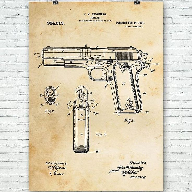 This patent art design for the Colt 1911 pistol has been very popular lately! #colt #1911 #patent #art #prints #posters #tshirts #guns #firearms #patentart #45acp #pistol #police #military #weapons