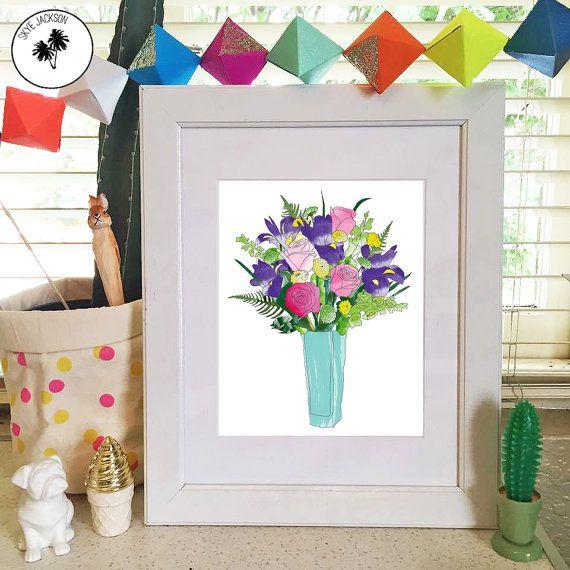 Flowers rose iris fern bouquet colourful bright pretty by SkyeJack