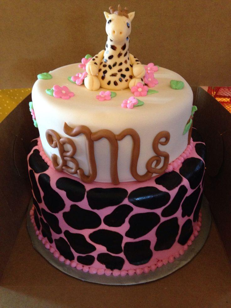 tier giraffe baby shower cake