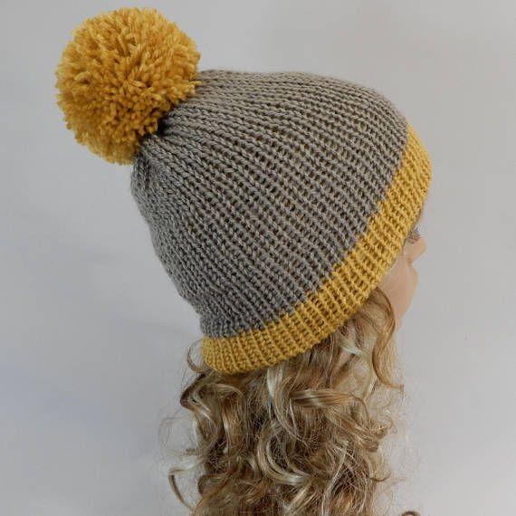 Winter beanie hat women Pom pom beanie Knit hat Mustard yellow  a01e3ec8e20