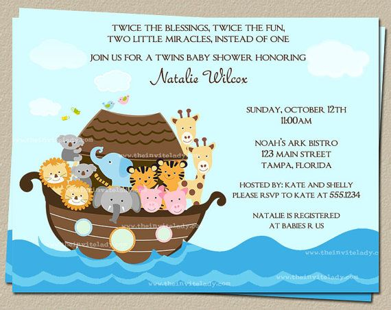Noahs Ark Baby Shower Invitations for Twins or One Child, Set of 10 Invites and Cards, FREE Shipping on Etsy, $8.00