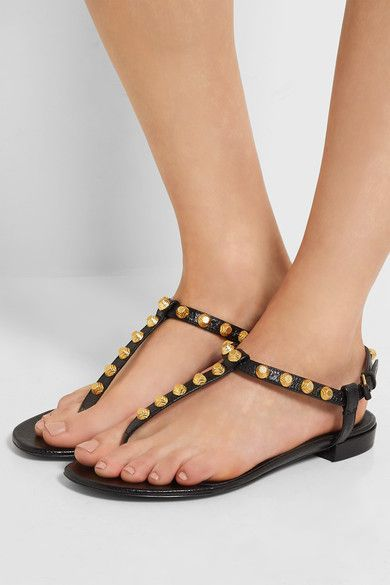Balenciaga | Studded glossed-leather sandals | NET-A-PORTER.COM