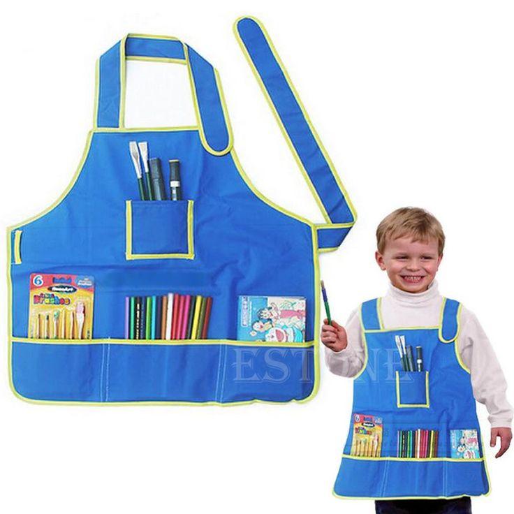E74 бесплатная доставка детского творчества милый фартук халат с 4 карманами для живопись дети арт-класс