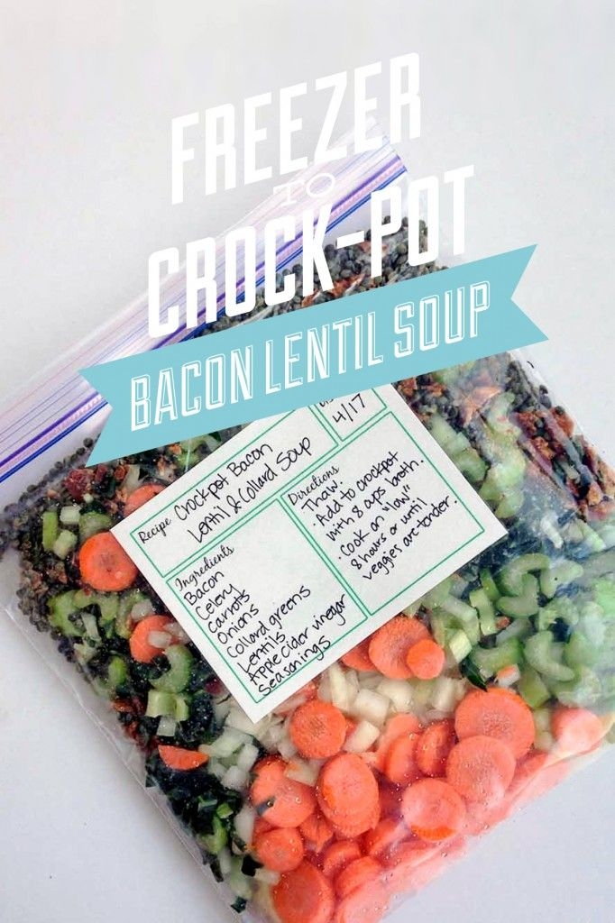 Freezer to Crockpot Bacon Lentil Soup: Real Food Ingredients! A healthy meal without the hassle.