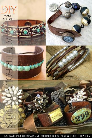 Boho-style leather cuffs | inspiration and free tutorials and how to work with leather | DiaryofaCreativeFanatic
