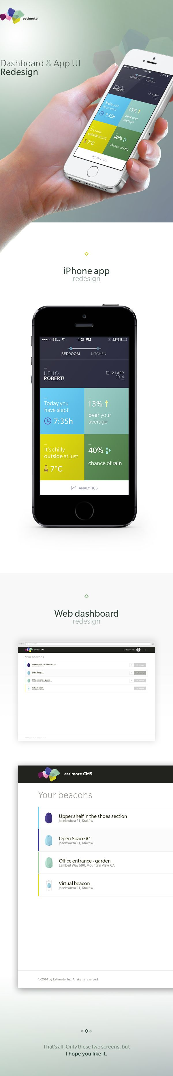 Estimote Redesign by Joanna Ostafin, via Behance #ui #uidesign #dashboard