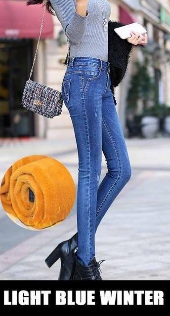 c9326cfbd29 Winter Jeans woman 2018 warm Female Pencil Pants ladies Plus size Slim Feet  Jeans long Trousers Women Jeans femme Plus size