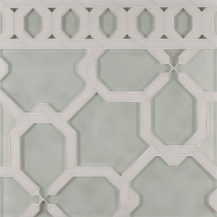 ANN SACKS Liberty renwick petite mosaic in diamond white clear glass and white thassos polished stone