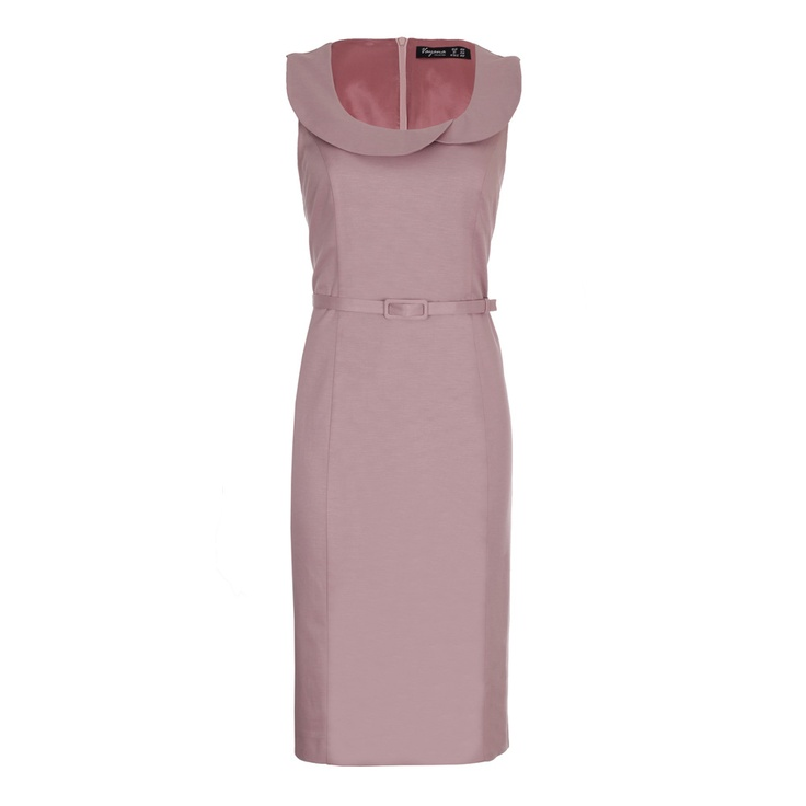 Hayley Powder Pink Work Dress. Pencil work dress with a double rounded peter-pan collar and matching thin belt.