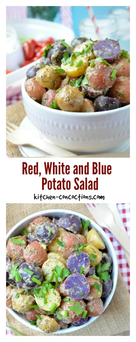 Get festive at your next potluck with a Red, White and Blue Potato Salad! This is an easy recipe that your guests are sure to enjoy. Make this your next delicious side dish.