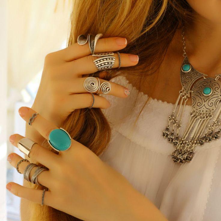 Turquoise Boho Antique Silver Statement Fashion Elegant Unique Adjustable Ring #Takimania #Statement
