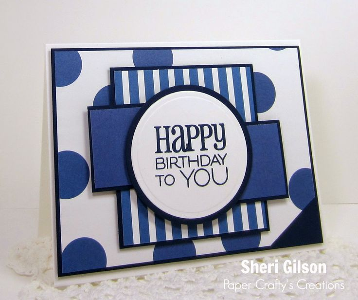Patterned and solid paper from Night of Navy and Blues Necessity are used to create this graphic and bold masculine birthday card. Love the stripes and circles used together with black and white. DIY birthday card