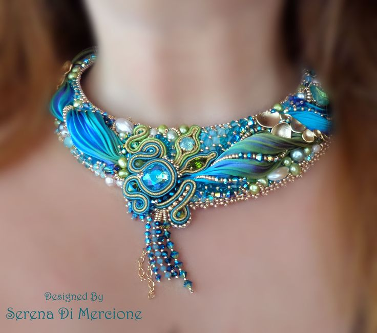"""PEACOCK NECKLACE - bead embroidery, shibori silk, soutache, swarovski. Designed by """"Serena Di Mercione Jewelry"""""""