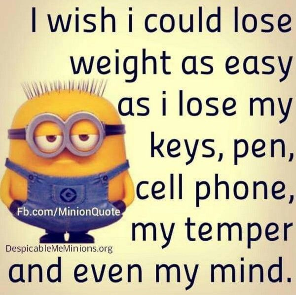 I wish I could lose weight as easily as I lose my keys, pen, cell phone, temper, and even my mind.