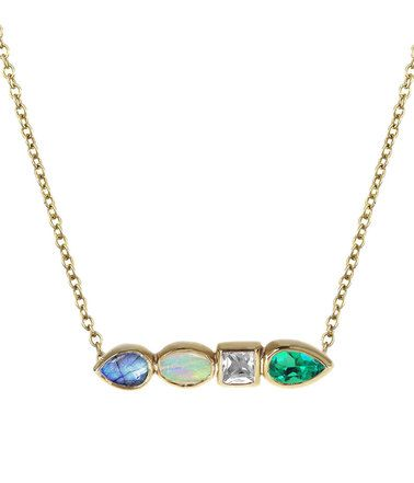 Multi Stone Pear Necklace
