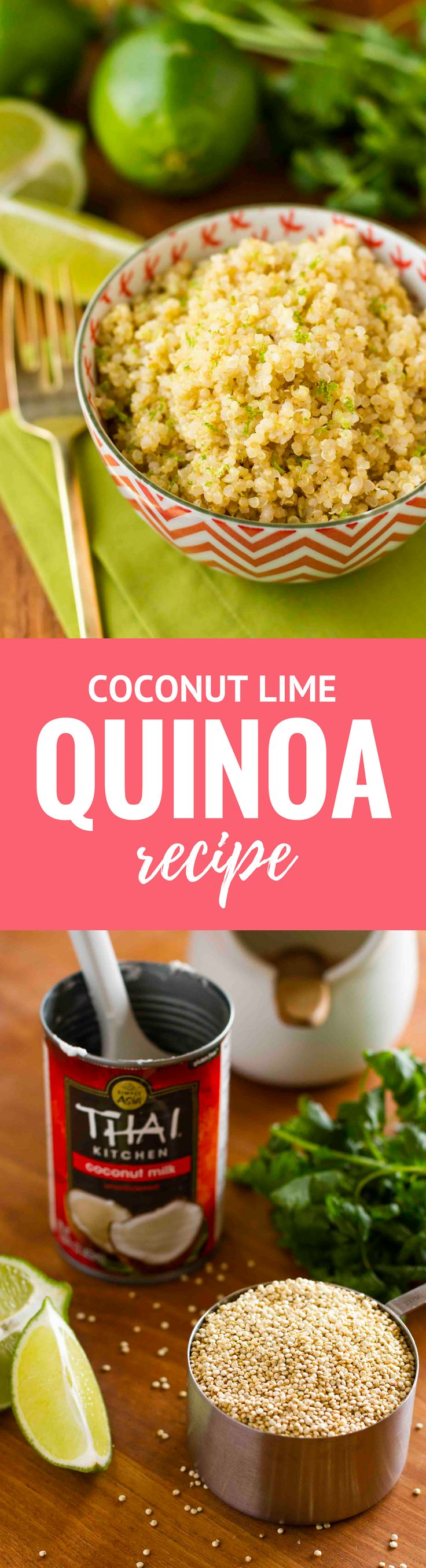 Coconut Lime Quinoa -- 3 ingredients and insanely easy prep (use your rice cooker or Instant Pot!) make this delicious & healthy quinoa recipe a go-to weeknight vegetarian side dish. Total winner! | unsophisticook.com