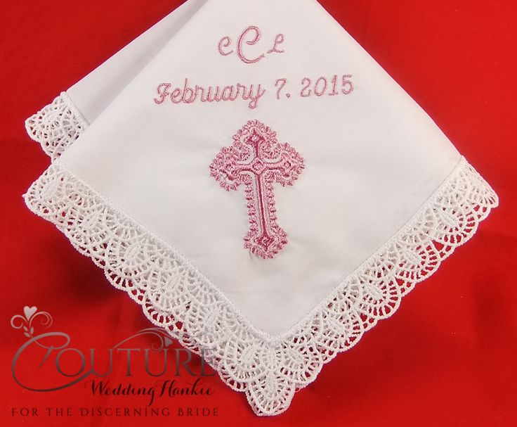 This personalized baptism handkerchief makes a wonderful