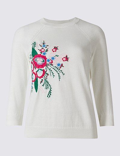 Cotton Blend Embroidered Round Neck Jumper | Marks & Spencer London