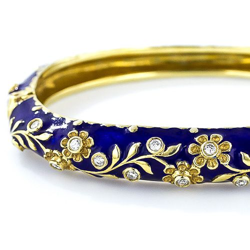 14 kt gold, blue enamel, 0.56 tcw round brilliant cut diamonds (16), SI1-SI1/I. Circa mid-20th century