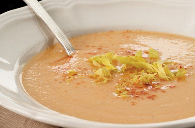 Hungarian apple soup (gluten free). This savoury apple soup for two gets body from potatoes and a touch of heat from paprika. Float some cocktail prawns or crabmeat in each bowl to make it a main course.