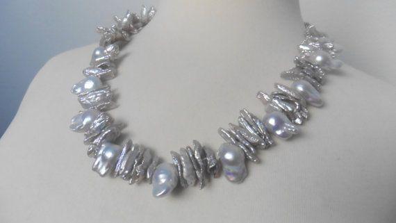 Perlencollier üppige echte Perlenkette silber von Perlenfischzuege