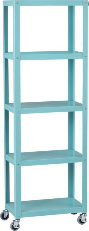 go-cart aqua five-shelf bookcase