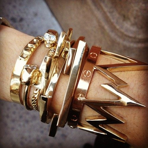 An armful of gold.: Arm Candy, Arm Party, Style, Bracelets, Armcandy, Jewelry, Gold, Accessories, Arm Candies