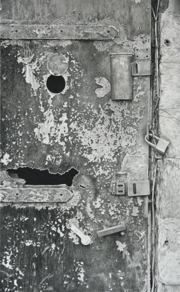 "drawing by dizzykid, Pandora, 2009, charcoal on paper, 35"" x 22"""