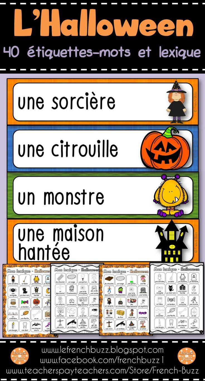 L'Halloween - mur de mots et lexique. Enseigner et pratiquer le vocabulaire d'Halloween. 2 fiches à utiliser comme dictionnaire personnel.
