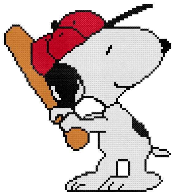 Counted Cross Stitch Pattern, Baseball Snoopy from Peanuts, Instant Download, PDF Pattern, Hand Designed by Dreamy Memories