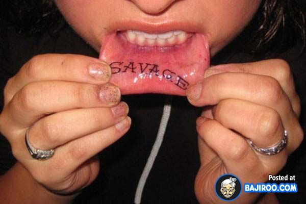 Terrific ridiculous Inner Lip lips Tattoo tattoos women girls men images pictures photos pics 8 58 Terrific Inner Lip Tattoos
