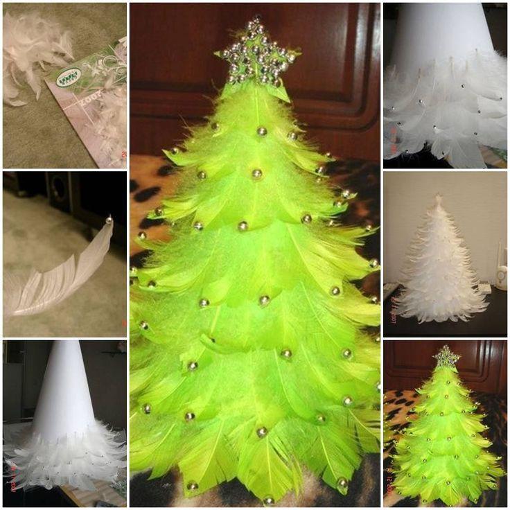 DIY Beautiful Feather Christmas Tree
