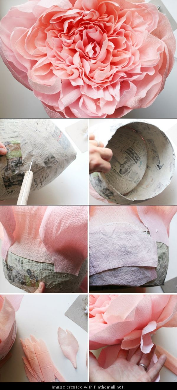 Giant Crepe Paper Peony---Part 8 of 10---written directions on post---http://bloggingcornerblog.blogspot.com/2013/07/giant-paper-peony-pinatas.html