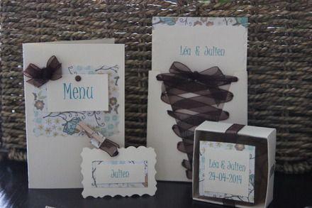 Décoration de table Mariage + faire part - thème marron / beige et bleu - romantique et vintage - Gamme complète - X10 pers. : Cuisine et se...