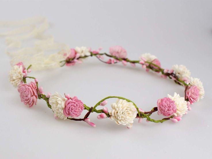 Blumenkrone+/+Blumenkranz+/+Haarblüten/+Elfenkrone+von+Lola+White+auf+DaWanda.com