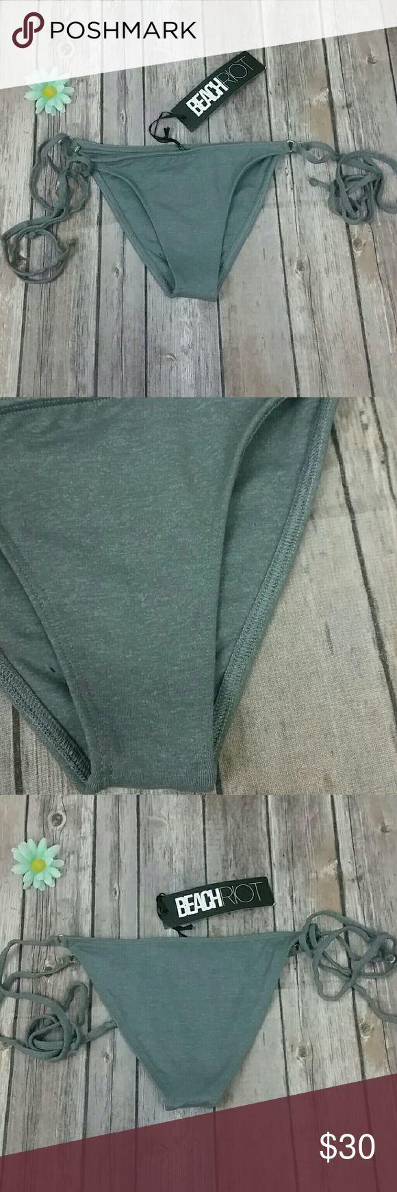 Beach riot bikini All grey ties sides bottoms brand new Beach Riot Swim Bikinis