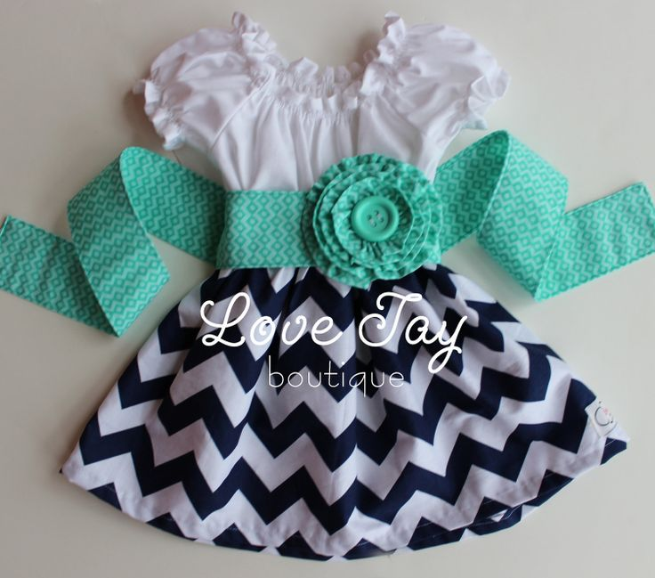 Girls+Cheveron+Peasant+style+dress+Navy+and+by+LoveTayBoutiqueLLC,+$35.00
